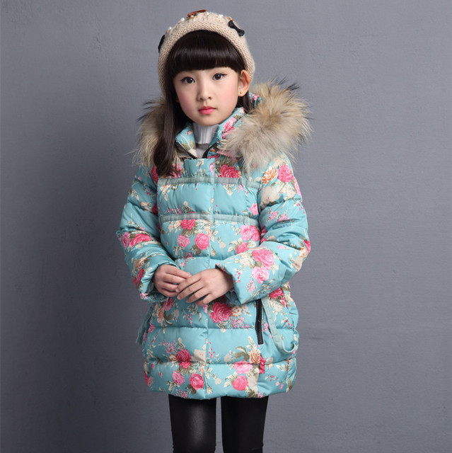 Winter Thicken Warm Kids Coat Children Outerwear Cotton Filler Heavyweight Girls Jackets Floral Printing Outfits 3 12 Years Old