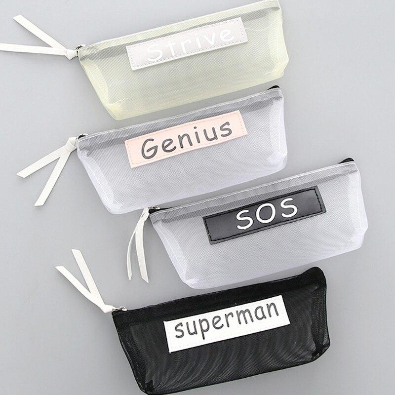 Creative Simple Letter Lucky Mesh Clear Pencil Case School Pencil Cases Cute Stationery Pencil Bag Papelaria Estojo Escolar