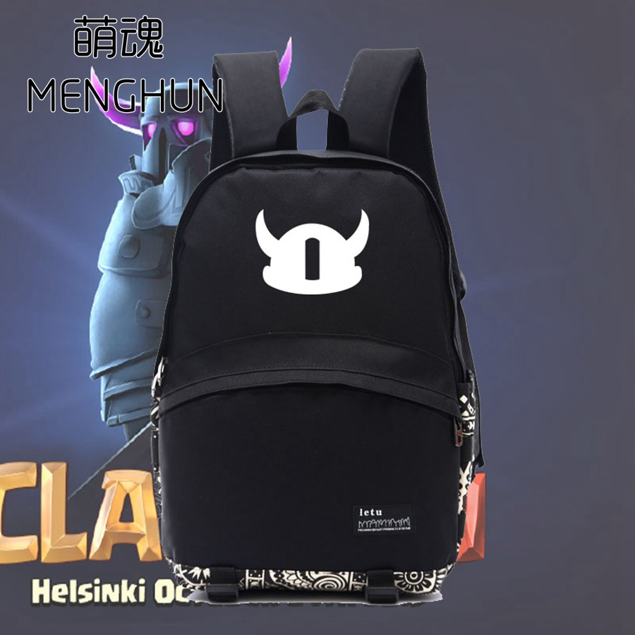 mobile game Clash of Clans icon printing black nylon backpacks Clash of Clans school bag student backpack NB160 black diamond icon