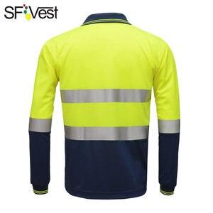 Image 3 - SFVest zicht veiligheid werk polo t shirt Vochtafvoerende Stof verwarmde heldere zilveren reflecterende t shirt polo shirt