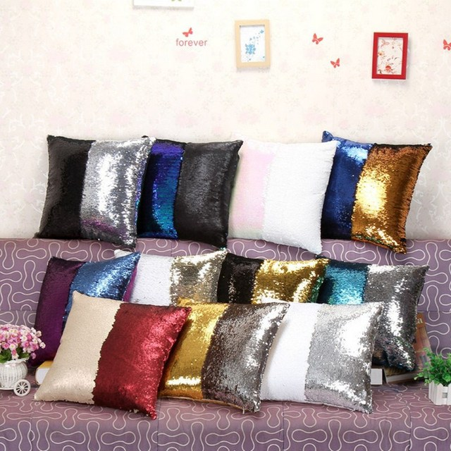 Mermaid Pillows Covers Two Tone Sequins Throw Pillow Cushion Case Impressive Diy Decorative Pillow Covers