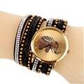 Elefante dial Nuevo reloj Mujeres Reloj de Vestir de Cuero de Múltiples Capas Remaches Reloj de Cuarzo Mujer Reloj de Lujo de Ginebra reloj de Pulsera horas