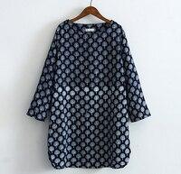Forest Blue Small Tree Printing Patterns O Neck Long Sleeve Cotton Yarn Dress Mori Girl Autumn