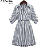 AREALNA Autumn Women Shirt Dress Lady Long Sleeve Stripe Bodycon Party Dresses Cotton Blends Plus Size