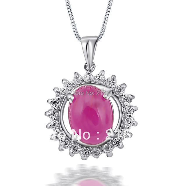 Elegant Jewelry Natural Ruby Pendant Necklace In 925 Sterling Silver Woman Fine Gem Jewelry Birthstone Valentine Gift SP0607R