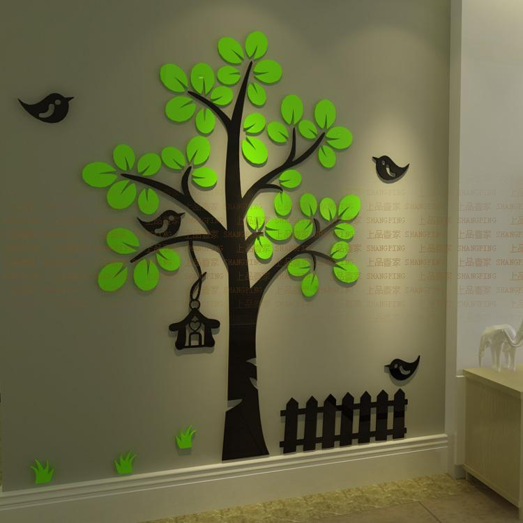 New Arrival 3D Crystal Acrylic Three Dimensional Wall Stickers Tree Bird  Wall Sticker Sofa Wall