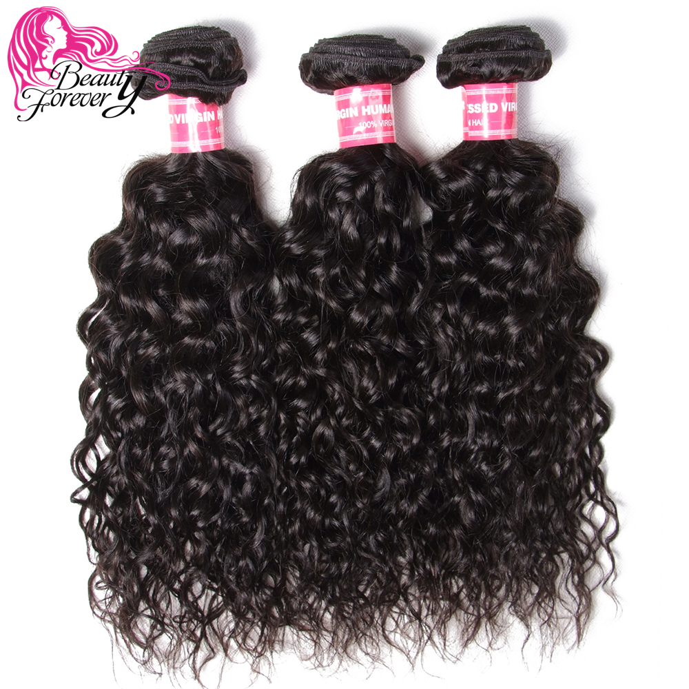 Beauty Forever Malaysian Water Wave Hair Bundles 3 Piece lot Remy Human Hair Weaves Natural Color
