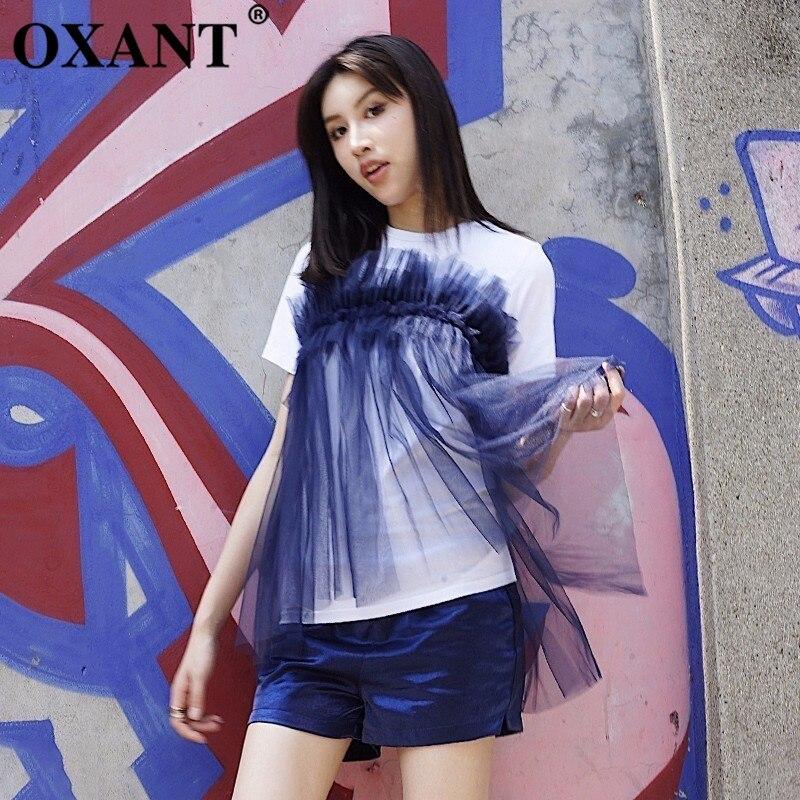 OXANT Mesh t-shirt pour femmes Patchwork volants à manches courtes grande taille t-shirts Top femme été mode nouveaux vêtements