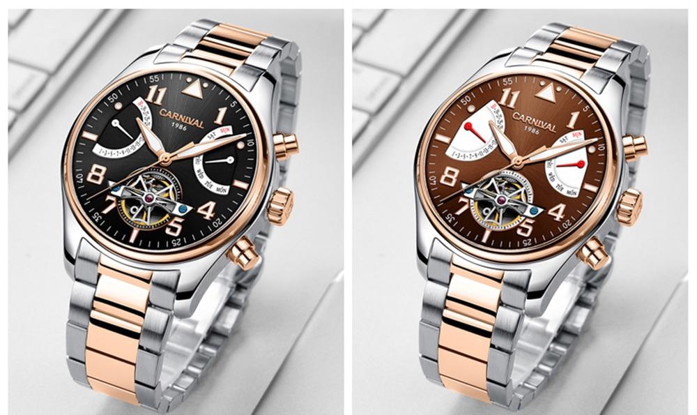 Здесь продается   Carnival Tourbillon Mechanical Watch Men Switzerland Skeleton Pilot Wristwatch 25 Jewels Luxury Luminous Clock  silver brown  Часы