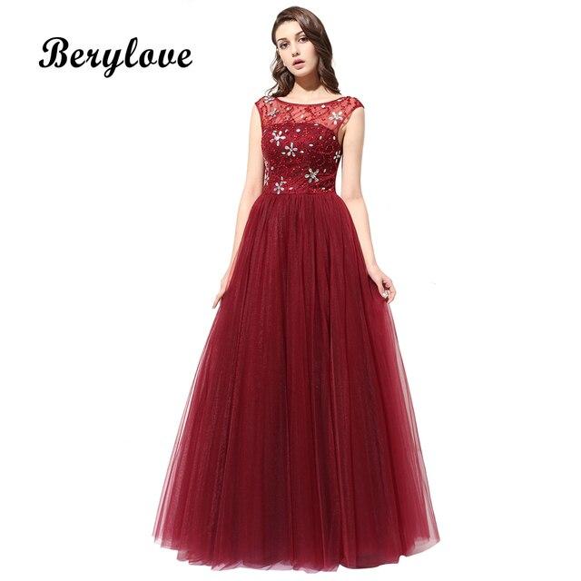 BeryLove Burgundy Evening Dresses 2018 Long Beaded Evening Gowns Cap ...
