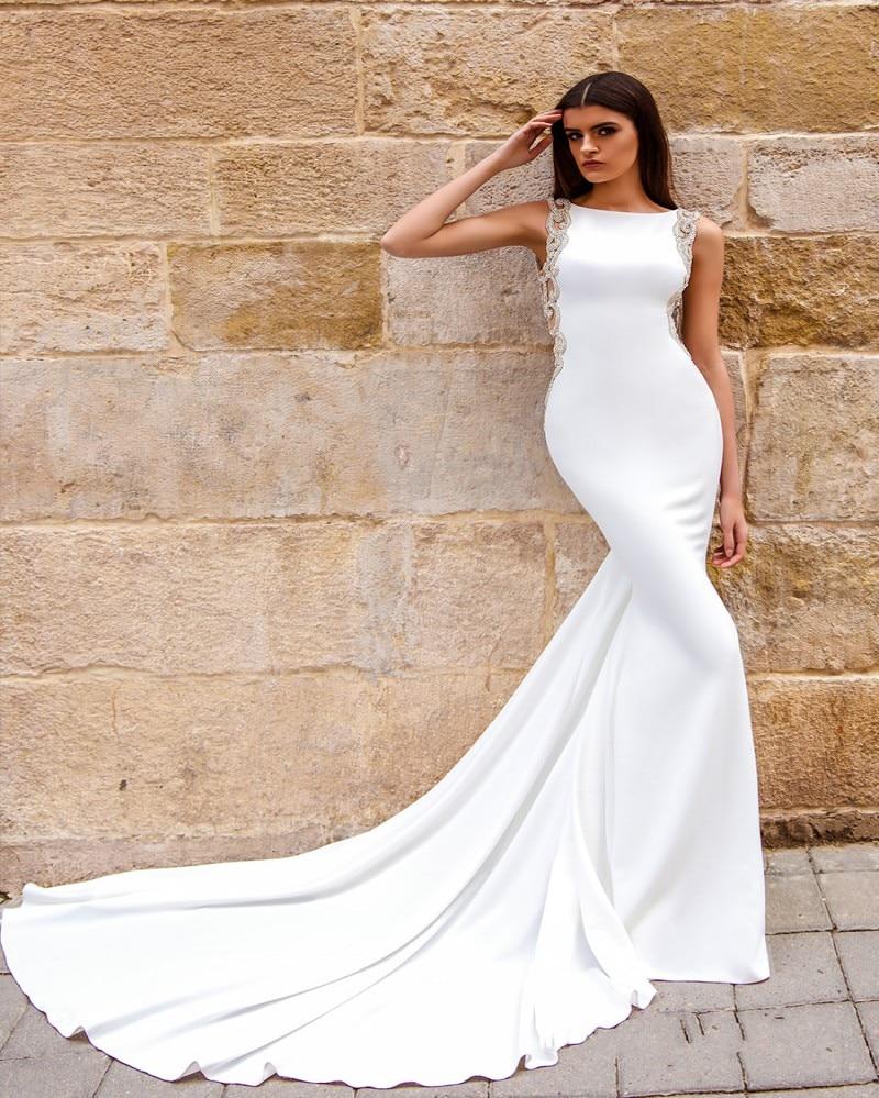Sofuge Mermaid Wedding Dress See Through Back 2019 Vestidos De Novia Vintage Sexy Scoop Neck Bride Dresses Floor Length Easy And Simple To Handle Wedding Dresses