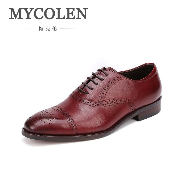 MYCOLEN Fashion British Style Bullock Carving Oxford Shoes For Men Genuine Leather Shoes For Man Shoes Wedding Business zero more high quality men oxford shoes british style carved genuine leather brogue shoes lace up bullock business mens