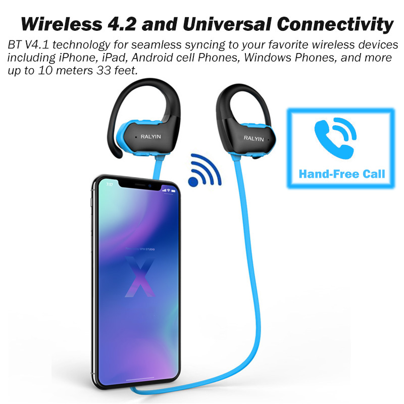 Ralyin bluetooth 4 2 headphones mp3 IPX6 waterproof wireless headphone  sports bass earbud with mic for phone iPhone xiaomi HTC