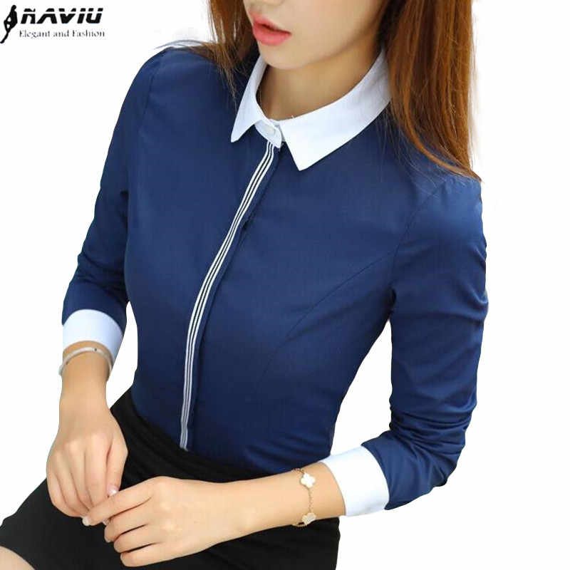 New fashion women cotton shirt spring formal elegant blouse office ladies work wear plus size tops navy blue white