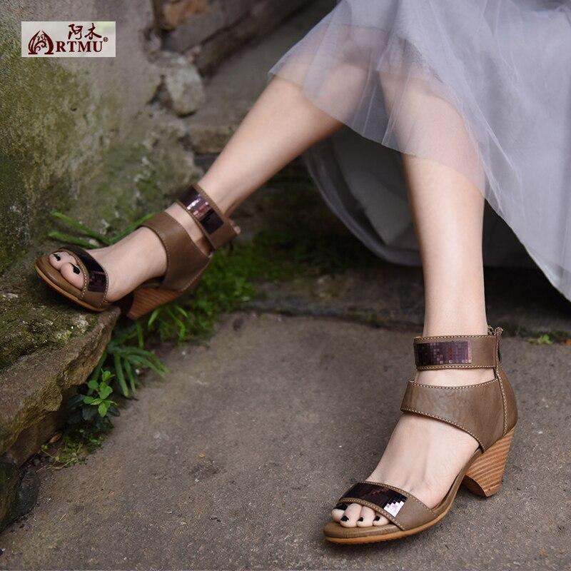 Artmu oryginalny lato nowy Retro gruby obcas prawdziwej skóry ręcznie sandały wygodne wysokie obcasy damskie buty 0021 1 w Wysokie obcasy od Buty na  Grupa 1