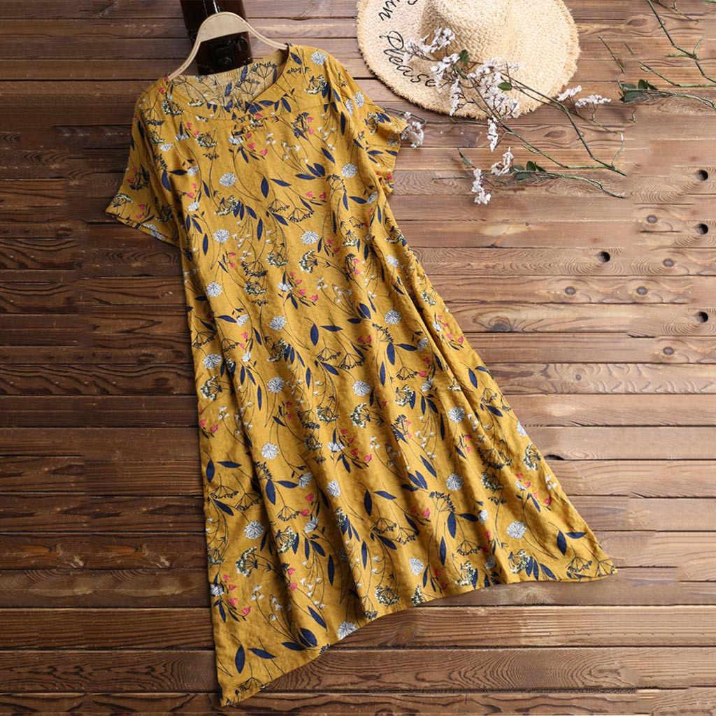 Kobiety kwiat malowanie letnia sukienka kobiet O-neck z krótkim rękawem Sundress Plus rozmiar sukienka Boho plaża sukienka Ete 2020 Femme Jurk