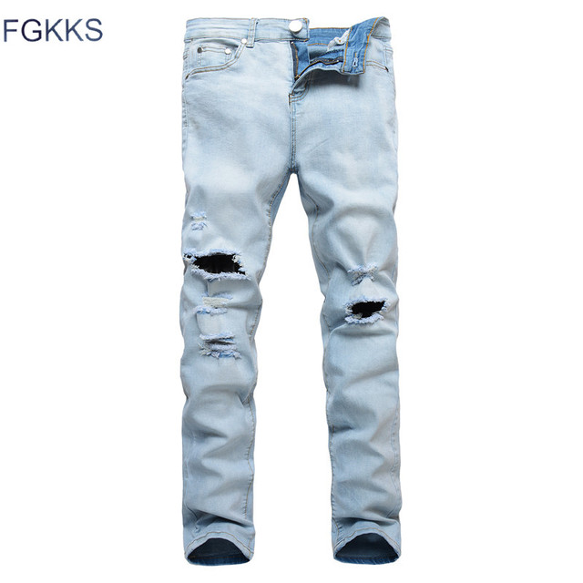 23b0f6de FGKKS 2018 New Summer High Street Men Jeans Light Fashion Denim Ripped  Jeans Men Skinny Distressed Designer Pants Joggers