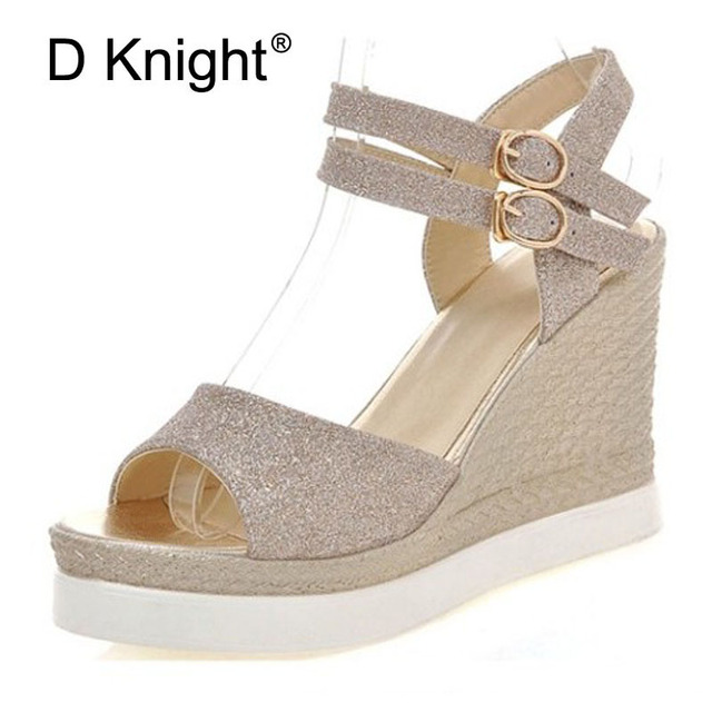 42b40006fda Gladiator High Heels Sandals Women Gold Silver Black Shoes Woman Summer Platform  Wedges Glitters Creepers Casual