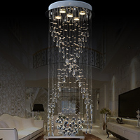 ZX Luxury Spiral Stairs Crystal Chandelier Circular LED Villa Living Room Long Ceiling Lamp Modern Concise