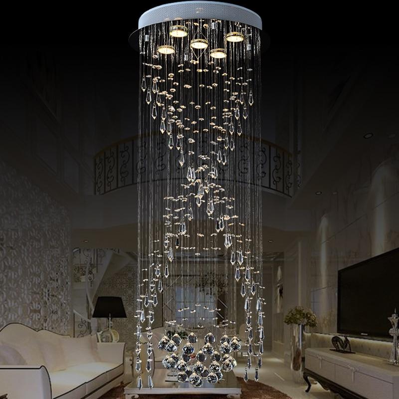 US $76.5 15% OFF ZX Luxus Spirale Treppen Kristall kronleuchter  Kreisförmige LED Villa Wohnzimmer Lange Deckenleuchte Modern Concise  Kristall ...