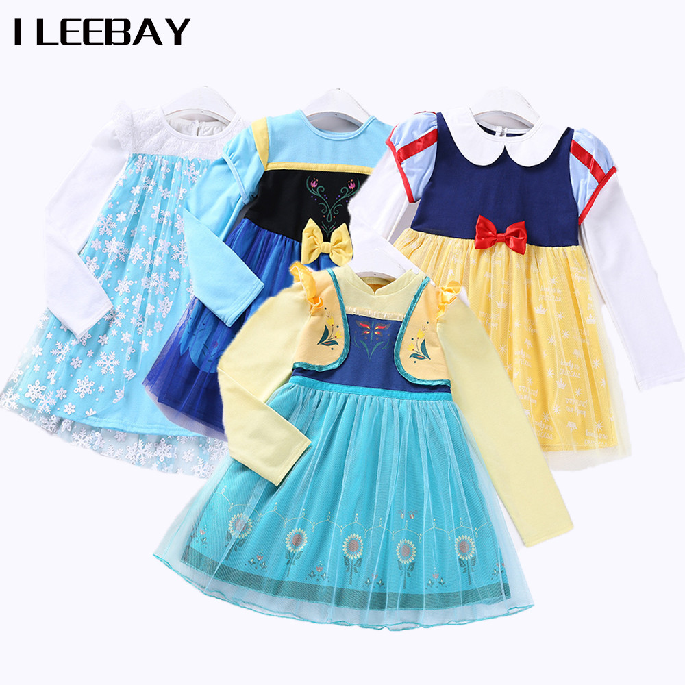 Baby Girls Halloween Party Dress Snow White Elsa Princess Dress Kids Anna Aurora Sofia Cosplay Costume Children Cartoon Clothes summer girl princess elsa dress with crown children halloween snow queen cosplay costume baby toddler kids girls party clothes