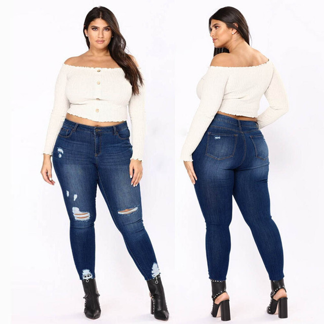 0ad59b6c9d3 2018 New Plus Size Retro Big Size Casual Skinny Jeans High Waist Slim Pants  Woman Denim Jeans Stretched Ripped Bottoms YL-NEW