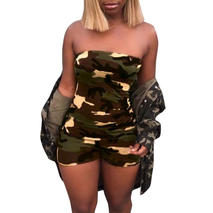 Free Ostrich Women Fashion Camouflage Print   Jumpsuits   Rompers Short Sleeveless Rompers Overalls Summer Playsuits Rompers D2335