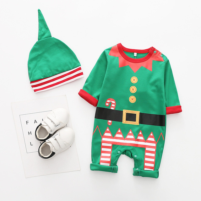New arrival cotton baby rompers long sleeve autumn baby clothes baby boy's girl's Christmas costume deer Santa jumpsuits 2