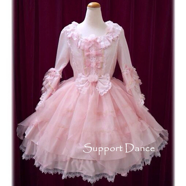 Long Sleeve Pink Lace Sweet Lolita Dress Custom Made Plus Size L43