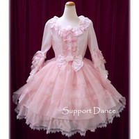Long Sleeve Pink Lace Sweet Lolita Dress Custom Made Plus Size L43