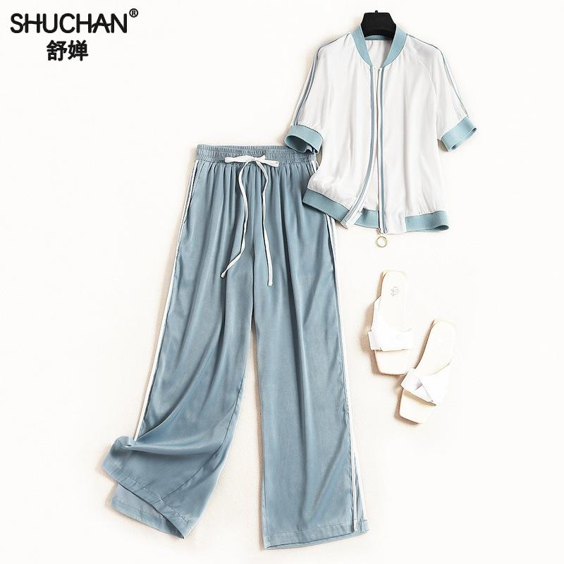 Shuchan Women's Leisure Clothing Women's Tracksuits Jacket With Half Sleeve+ Ankle-length Pants Women Clothing Set For Summer Price $119.41