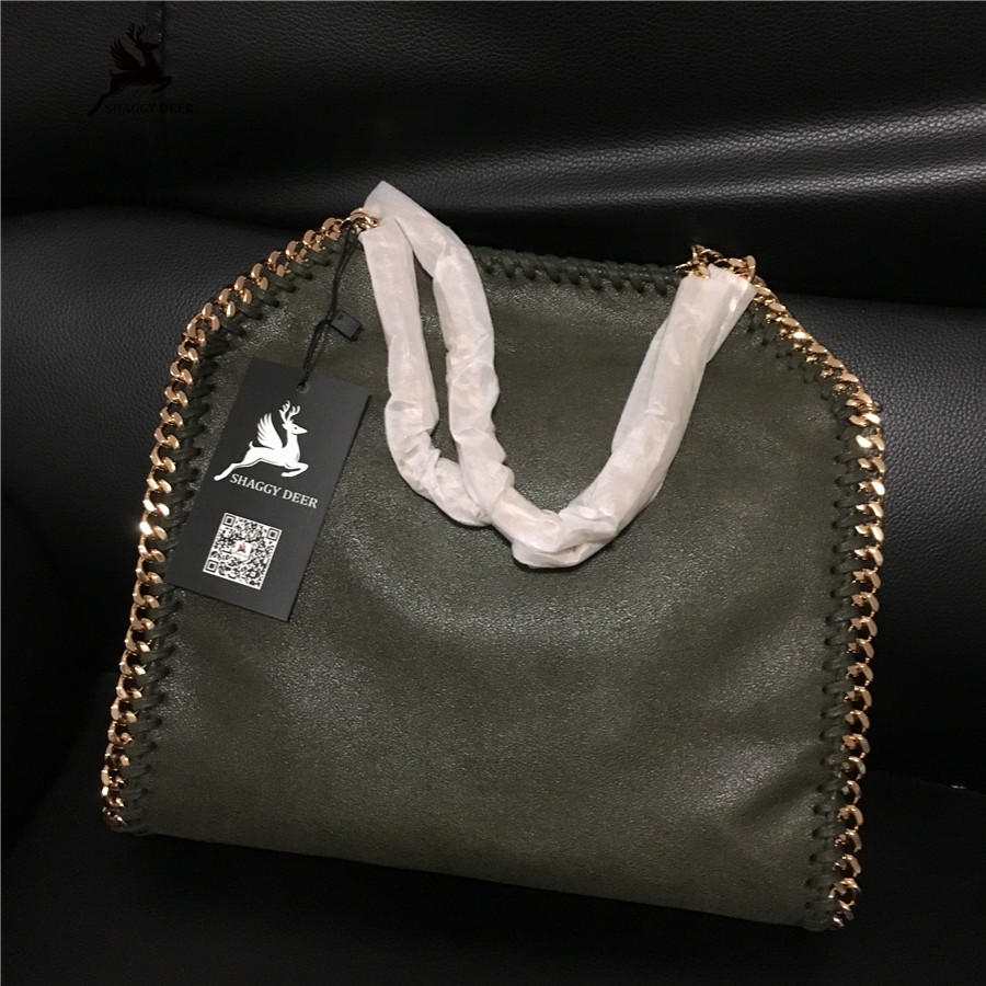Luxury New Color Army Green Golden Chain Exclusive Fold-Over PVC Shaggy Deer Falabellas Chain Bag mini gray shaggy deer pvc quilted chain bag with cover real picture
