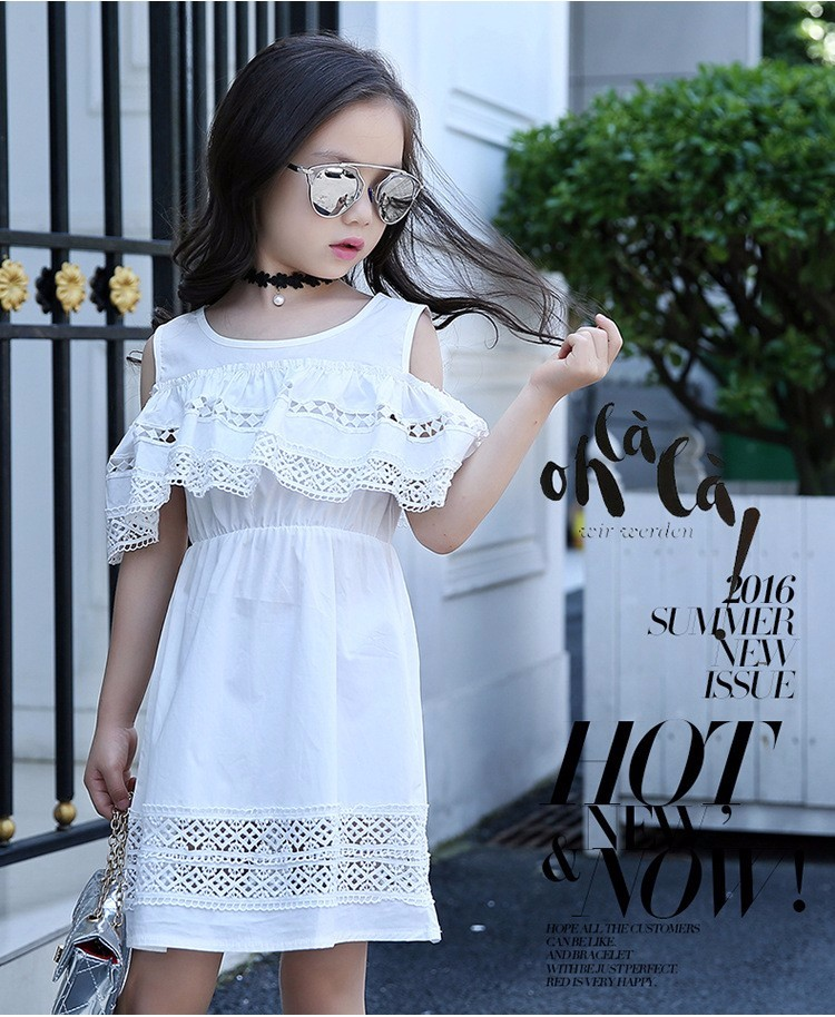 Kids Girls' Dress with Lace Summer 2018 New Kids Clothes for Girls Clothes Cotton Off Shoulder Dress White Pink Yellow Vestido 11