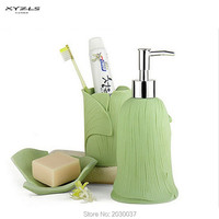 XYZLS 3pcs/set Resin Bathroom Accessories Solid Color Gingko Leaf Pattern Bath Set Lotion Dispenser Toothbrush Holder Soap Dish