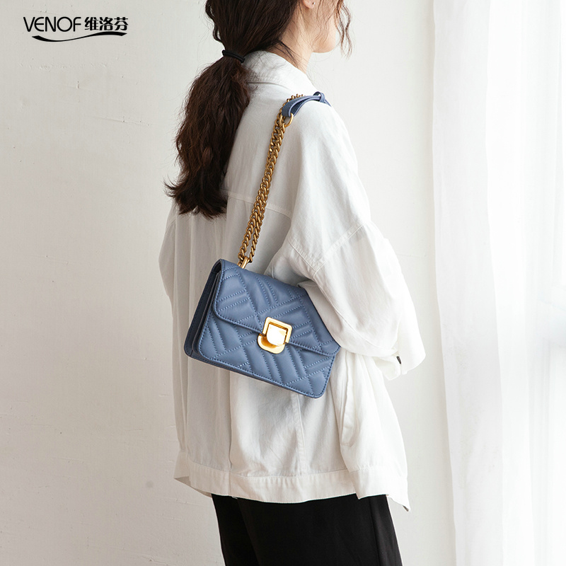 VENOF diamond pattern female flap bags fashion chain split leather shoulder bag for women elegant ladies