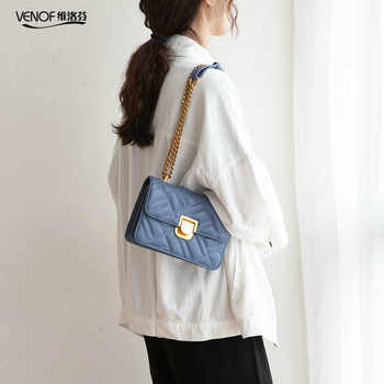 VENOF diamond lattice female flap bags fashion chain split leather shoulder bag for women elegant ladies crossbody bags for 2019 - DISCOUNT ITEM  47% OFF All Category