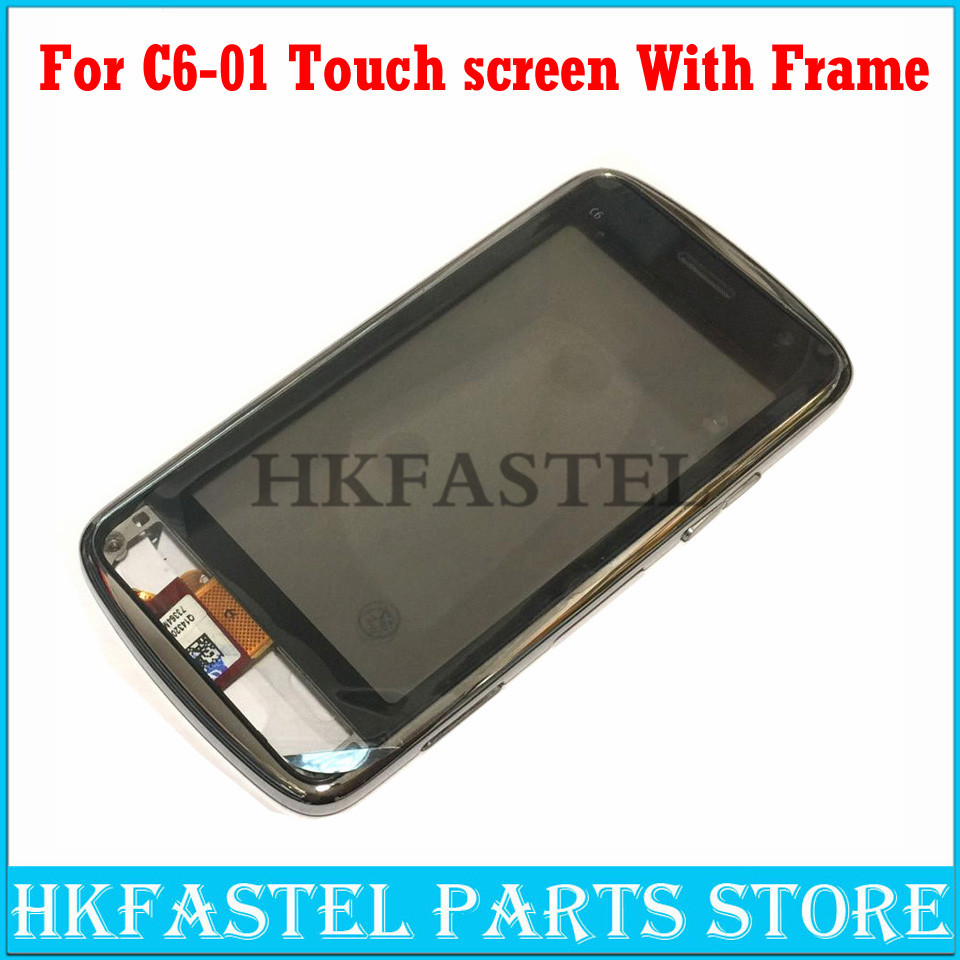 HKFASTEL Original Touch For Nokia C6-01 Touch Screen Digitizer Sensor Front Glass Lens Panel + Front Frame