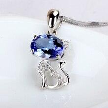 1 карат большой 9 к белое золото натуральный синий ювелирный алмаз ювелирные изделия ожерелье кулон красивый дизайн с кошкой