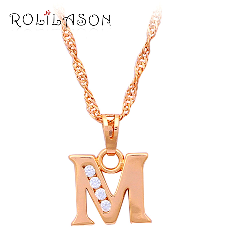 Buy glittering letter 26 design m style designer wholesale gold tone crystal Design and style fashion jewelry