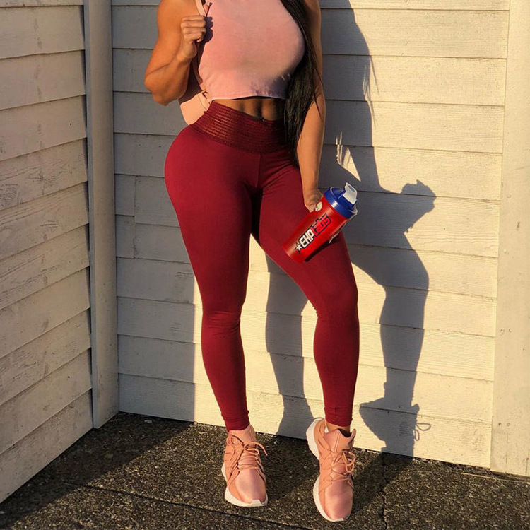 HOUZHOU Sexy Women Pants High Stetch Solid Leggings High Waist Trousers Push Up Hip Legging Back Pleated Breathable Trousers