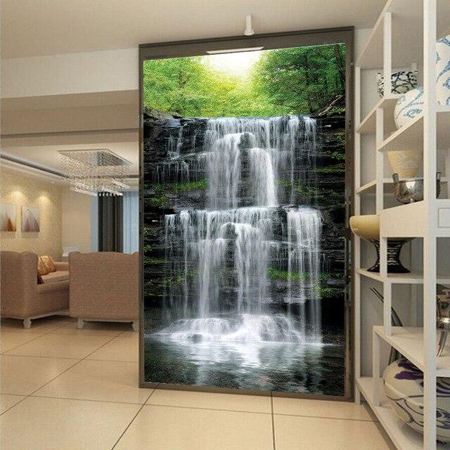 Custom Mural Wallpaper Landscape Natural Waterfalls Wall Mural Straw Non-woven Wall Paper Living Room Entrance Wall Room Decor 3