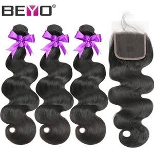 Image 2 - Tissage en lot brésilien Non Remy Body Wave, cheveux naturels, avec Closure Beyo, 4 pièces
