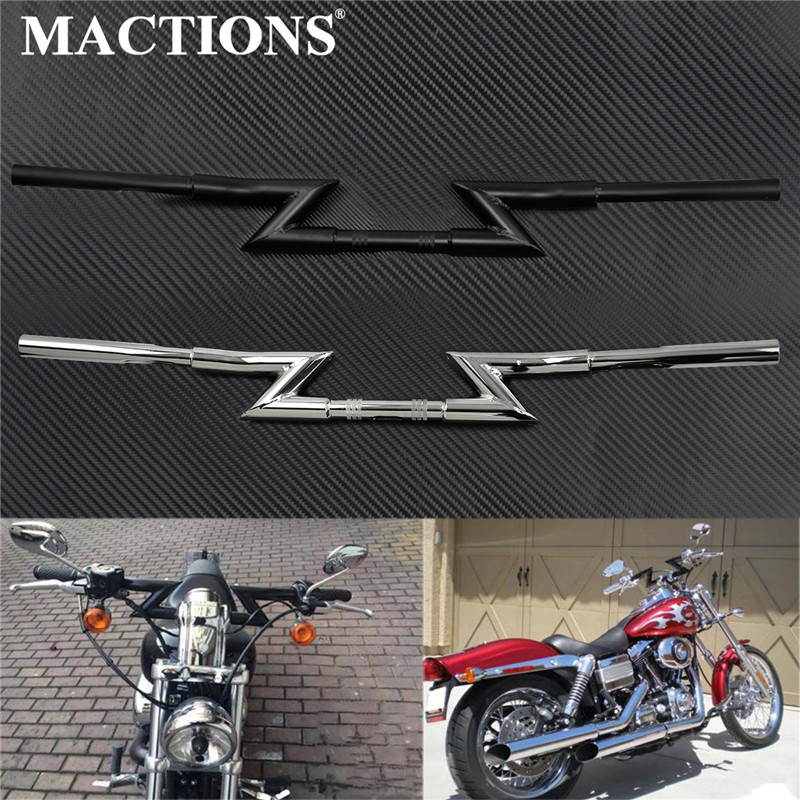 1 25mm Motorcycle Drag Z Bar Handlebar Black Chrome For Harley Touring Electra Glide For Honda