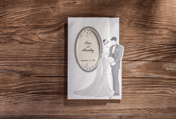 50pcs/lot High Quality 185*128mm Elegant Bride And Groom Invitation Cards Celebration/Party Invitation Cards Wedding Favor Decor