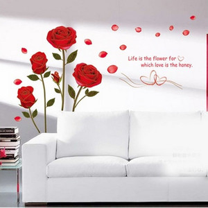 Image 4 - 1Pcs/lot Hot Sale 120x75cm Removable Red Rose Life Is The Flower Quote Wall Sticker Mural For DIY Decal Home Room Art Decoration
