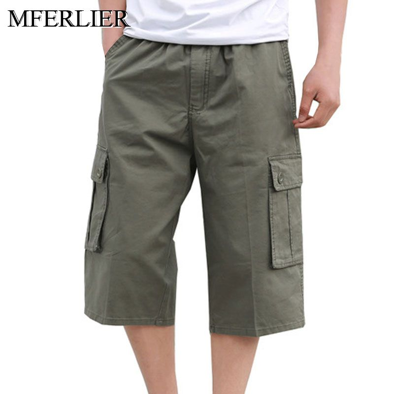 Summer Loose pants men 5XL 6XL waist 138cm Plus size cotton Calf-Length trousers men 3 colors(China)