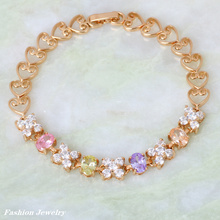 High quality suppliers gold Multi color Cubic Zirconia fashion jewelry lady Bracelets bangles 19cm 7.48 inch B179