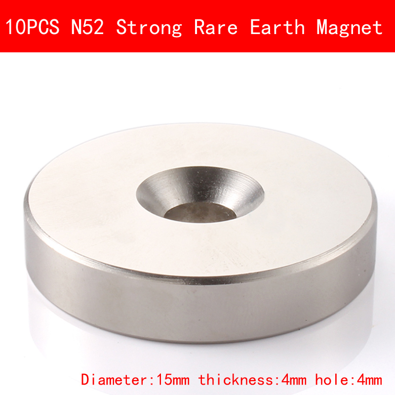 10PCS diameter 15mm thickness 4mm hole 4mm N52 Super Strong Rare Earth Magnet Permanent N52 Ndfeb Magnets D15 4MM in Magnetic Materials from Home Improvement