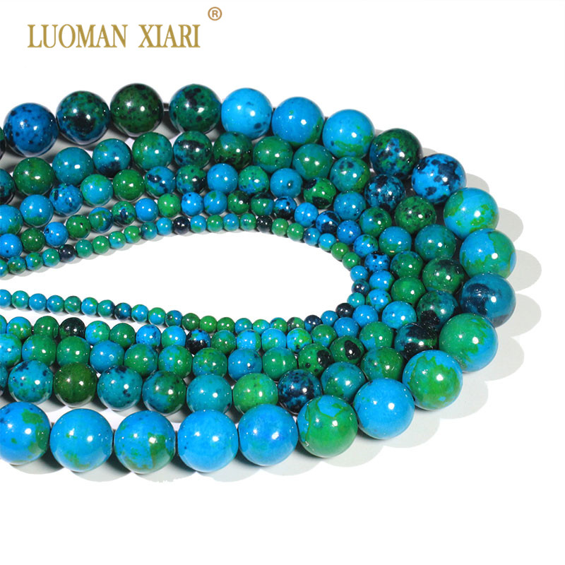 Wholesale Natural Stone Beads Chrysocolla Round Loose BeadsFor Jewelry Making DIY Necklace Bracelet 4/6/8/10/12 mm Strand 15''