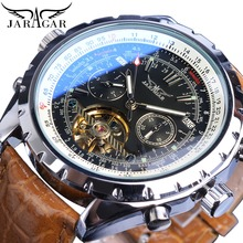 Jaragar Automatic Mechanical Men Watch Racing Sport Design Self Wind Calendar Skeleton Top Brand Luxury Brown Leather Wristwatch